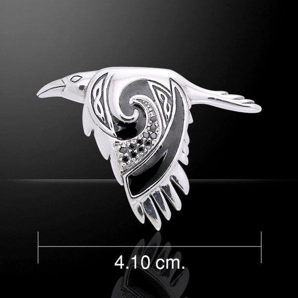 Celtic Raven Pendant in .925 Sterling Silver - Morrigan Crow Raven in Flight Amulet with Black CZ