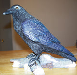 Dark Moon Raven Statue - Morrigan Crow Spirit with Key - Shapeshifting Messenger Raven Bird Figure