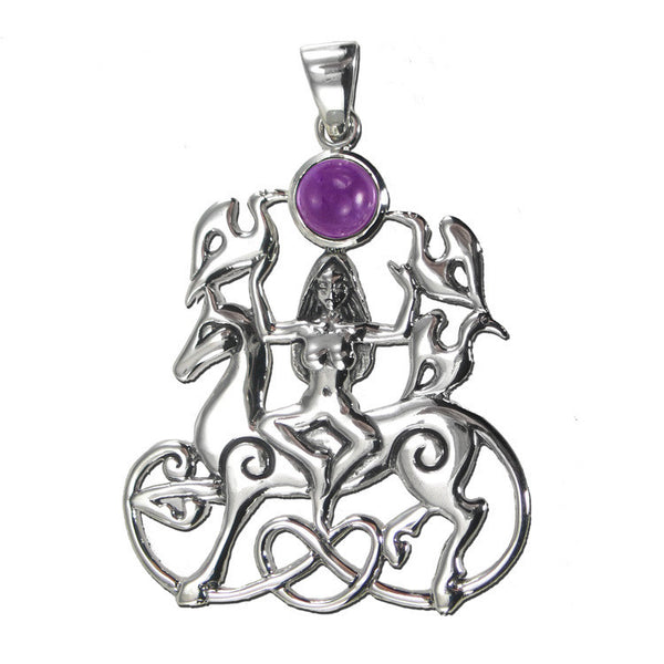 Rhiannon Pendant | Welsh Queen Goddess Pendant in Sterling Silver | Dryad Design Rhiannon with Amethyst
