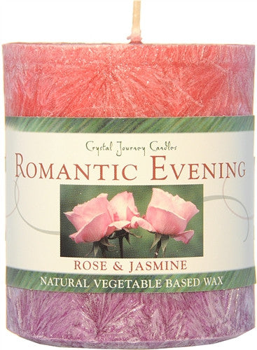 ROMANTIC EVENING Aromatherapy Candle - Crystal Journey Candles Rose and Jasmine Pillar Candle