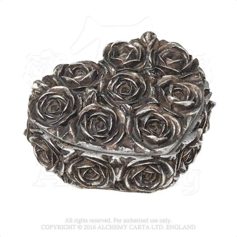 Rose Heart Box - Alchemy Gothic Heart Shaped Rose Trinket Jewelry Box - Antique Silver finish