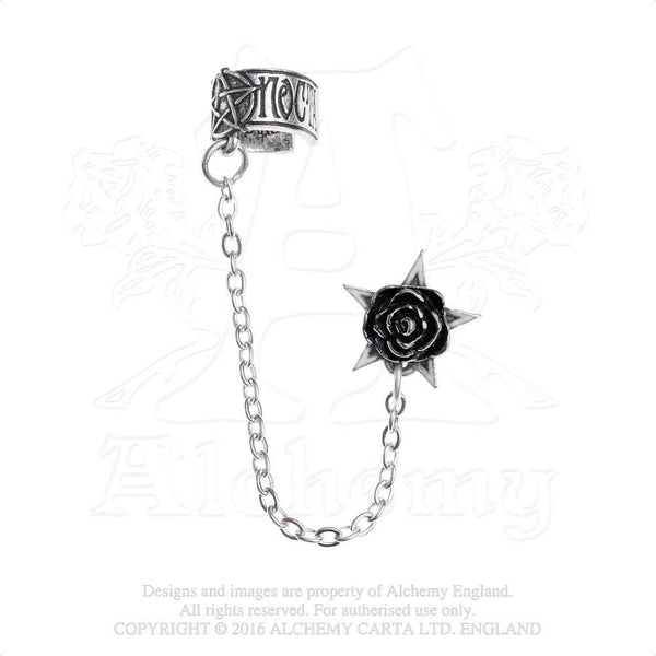 Rose Pentacle Ear Cuff - Alchemy Gothic Rosa Nocta Pentagram Earring - Pentacle and Rose
