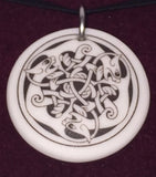 Celtic Cat Pendant | Handcrafted Porcelain Round Kitty Feline Necklace Amulet
