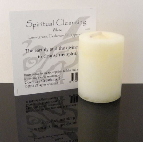 SPIRITUAL CLEANSING Candle Wiccan Pagan Coventry Creations Blessed Herbal votive