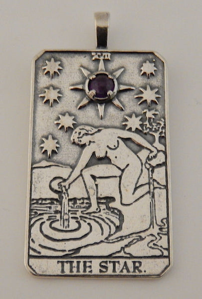 Star Tarot Card Pendant .925 Sterling Silver with Natural Amethyst Gemstone