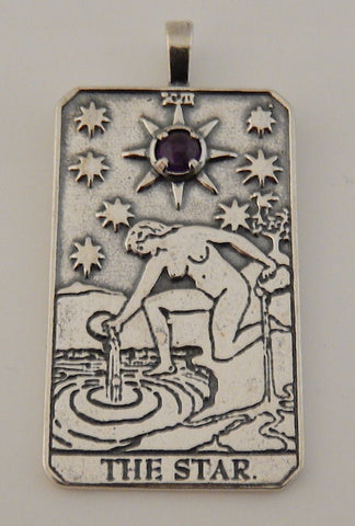 Star Tarot Card Pendant .925 Sterling Silver - For Hope, Truth, and Blessings with choice of gemstone