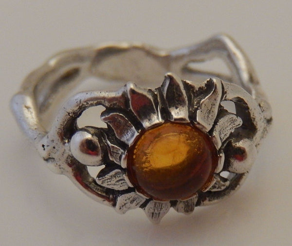 Sunflower Ring in 925 Sterling Silver w/ Natural Amber - Sun Dancer Goddess Solar Magick Jewelry