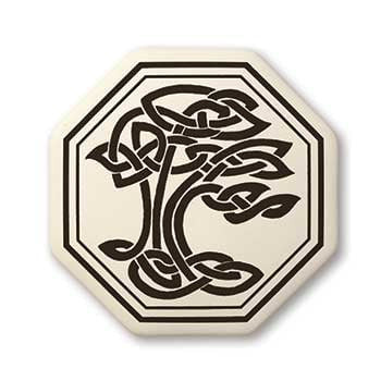 Sacred Tree Pendant - Handcrafted Porcelain Octagon Tree of Life Necklace Amulet