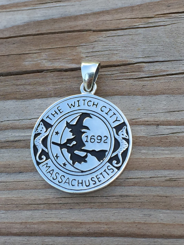 Witch pendant 925 sterling silver magick amulet salem witch 1692 witch pendant 925 sterling silver magick amulet salem witch 1692 moon cat broom pendant aloadofball Gallery