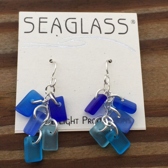 Blue Hole Blues Sea Glass Earrings in .925 Sterling Silver - Cobalt Turquoise Aqua SeaGlass Earrings