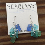 SeaGlass Chime Earrings - Seaside palette .925 Sterling Silver Dangle Earrings