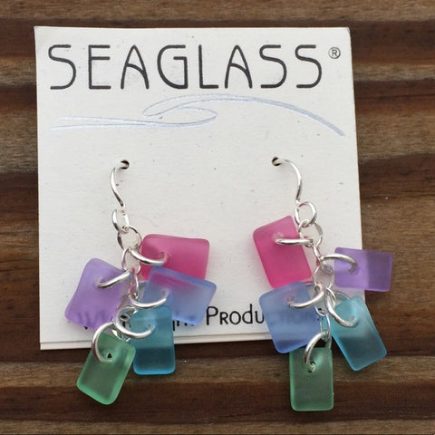 SeaGlass Chime Earrings - Blossom palette .925 Sterling Silver Dangle Earrings