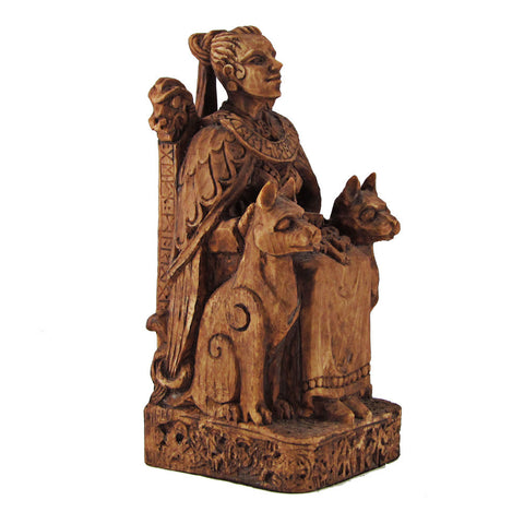 Freya Statue - Norse Goddess on Throne Viking Statuary - Small Dryad Design Wood Finish Freyja and her Cats Statue