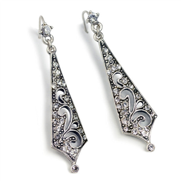 Art Deco Crystal Taper Earrings by SWEET ROMANCE - Vintage 1920's Style Sleek Linear Dangles