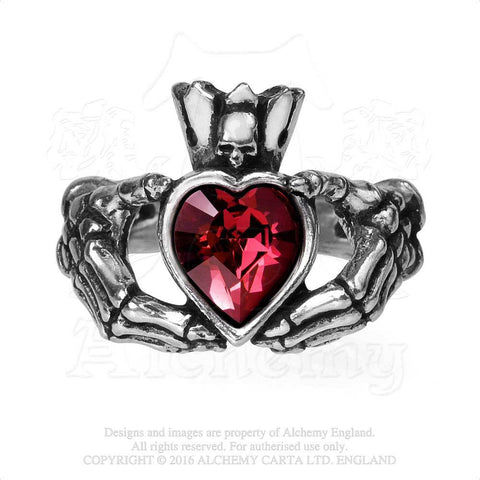 Claddagh By Night Ring - Alchemy Gothic Skull Claddagh Skeleton Hands Ring - Love and Loyalty