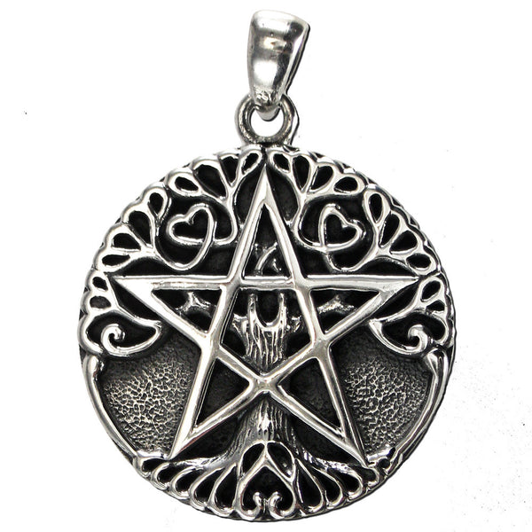 Tree Pentacle Pendant in .925 Sterling Silver - Dryad Design Small World Tree Amulet with Solid Background