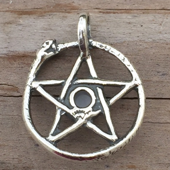 Snake Pentacle Pendant 925 Sterling Silver Ouroboros W Genuine