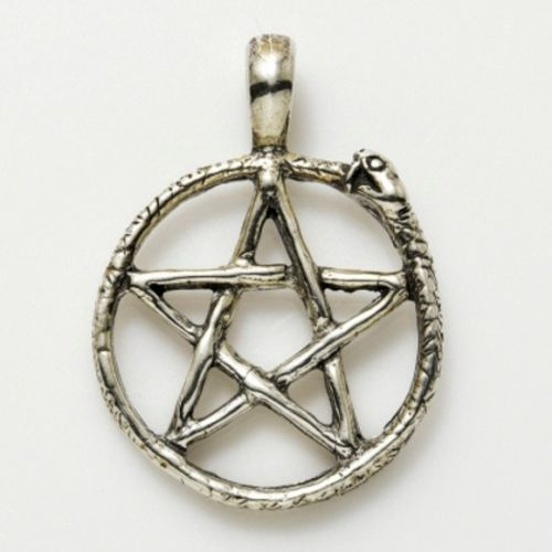 Sterling Silver Ouroboros Snake Pentacle Pendant Serpent Pentagram pagan wicca