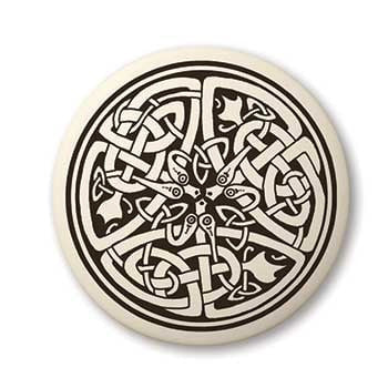 Celtic Snake Earth Healer Pendant | Handcrafted Porcelain Round Celtic Serpent Necklace Amulet