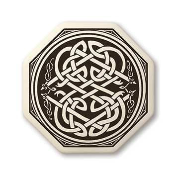 Celtic Snake Earth Healer Pendant | Handcrafted Porcelain Octagon Celtic Serpent Necklace Amulet