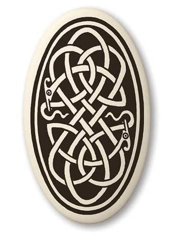 Celtic Snake Earth Healer Pendant Handcrafted Porcelain Oval Celtic Serpent Necklace Amulet