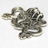 Viking Snake Witch Pendant in .925 Sterling Silver - Ormhaxan Gottland Rune Snake Charmer Amulet