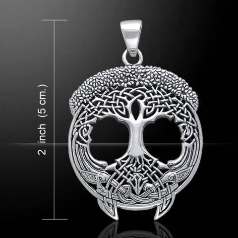 Large SOLSTICE Tree Pendant in .925 Sterling Silver - Yggdrasil Norse CELTIC TREE of LIFE Amulet