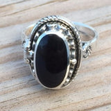 Black Obsidian Spell Ring .925 Sterling Silver Laurie Cabot Poison ring