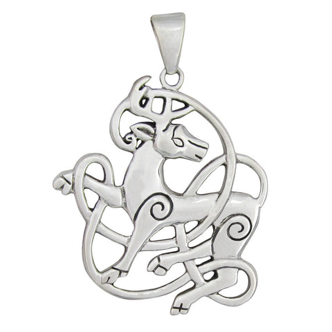 Cernunnos Stag Pendant in .925 Sterling Silver - Norse Dryad Design Celtic God Deer Amulet