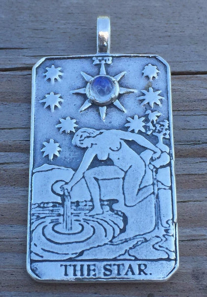 Star Tarot Card Pendant .925 Sterling Silver with Natural Rainbow Moonstone gem