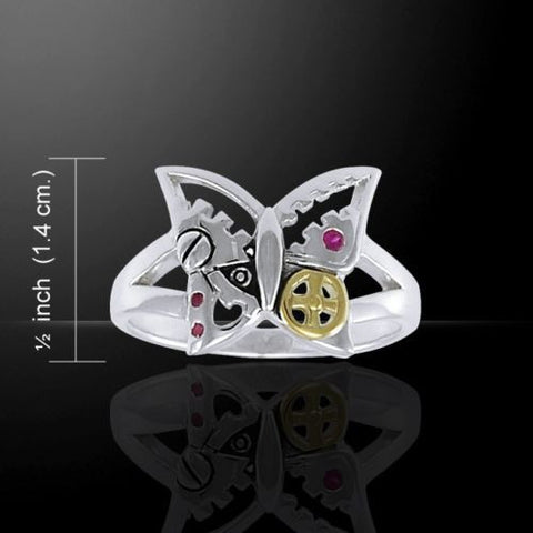 Steampunk BUTTERFLY Ring .925 Sterling Silver with gold vermeil accent - Victorian Fantasy Retro Butterfly