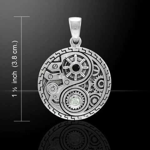 Steampunk Yin Yang Pendant 925 Sterling Silver Tao Victorian Fantasy pendant
