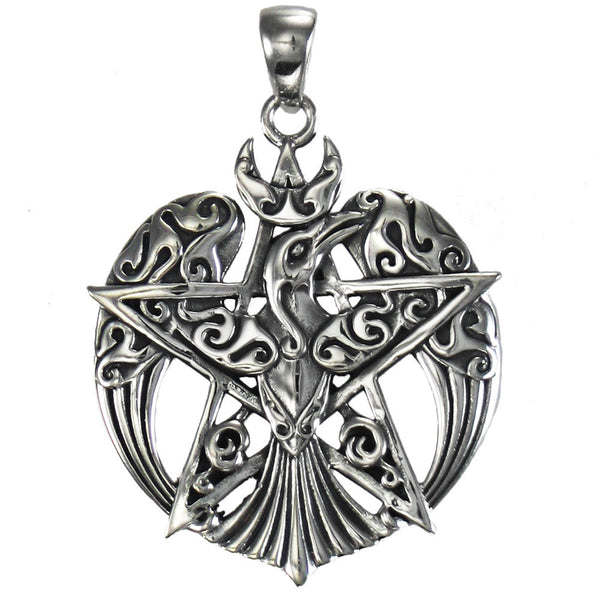 Sterling Silver Raven Pentacle Pendant - .925 Silver Dryad Design Tribal Moon Raven Crow for Power Fate Transformation