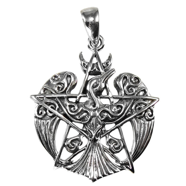 Sterling Silver Raven Pentacle Pendant - .925 Silver Small Dryad Design Tribal Moon Raven Crow for Power Fate Transformation