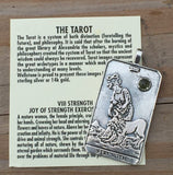 Strength Tarot Card Pendant in .925 Sterling Silver with Genuine Peridot gem - For Courage Endurance Mastery