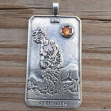 Strength Tarot Card Pendant in .925 Sterling Silver with Genuine Sunstone - For Courage Endurance Mastery