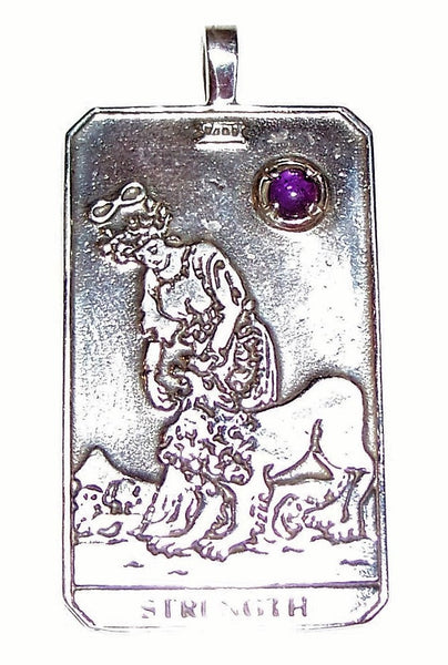 Strength Tarot Card Pendant in .925 Sterling Silver with Genuine Amethyst - For Courage Endurance Mastery