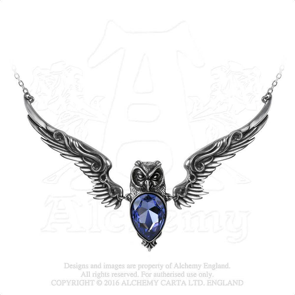 Stryx Owl Companion Necklace - Alchemy Gothic Dark Owl Pendant with Purple Swarovski crystal