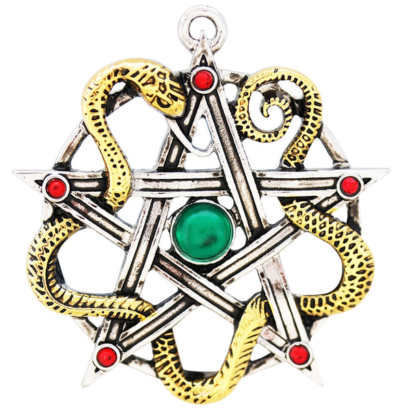 Serpent Pentacle Goddess Sulis Minerva Necklace for Wisdom and Healing - Wisdom of the Sacred Waters Pendant