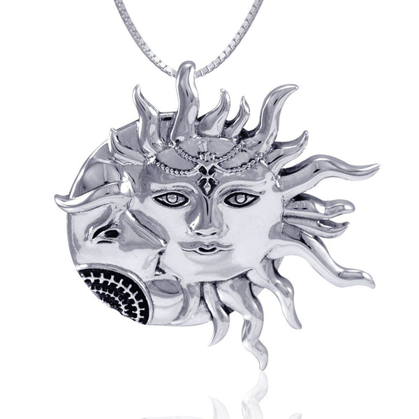 Sun and Crescent Moon .925 Sterling Silver Pendant with Sterling Silver Chain
