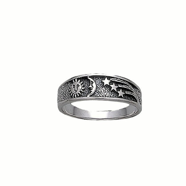 Celestial Bands: Sun Moon Stars Celestial Ring In .925 Sterling Silver