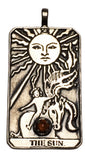 SUN Tarot Card Pendant in .925 Sterling Silver with your choice of natural gemstone