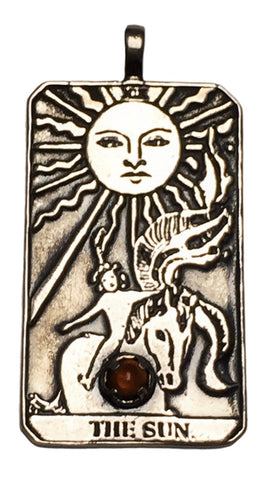 A SUN Tarot Card Pendant in .925 Sterling Silver with your choice of natural gemstone