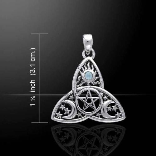 Sun Moon Stars Pentacle Pendant .925 Sterling Silver - Magick Pentagram with gem