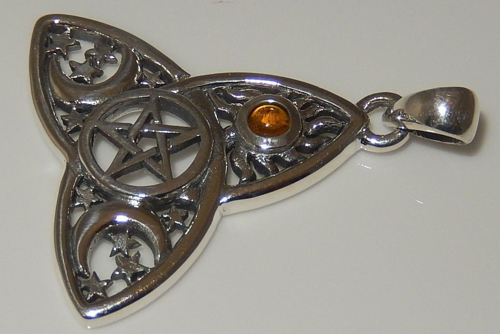 Very Sun Moon Stars Pentacle Pendant .925 Sterling Silver - Magick  HB03