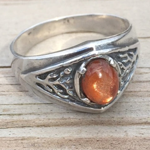 Celtic Tree of Life Ring .925 Sterling Silver Pagan Druid World Tree Ring with a genuine Sunstone gemstone