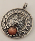 Viking SUN WOLF Pendant in .925 Sterling Silver with natural gemstone of your choice - Solar Energy amulet
