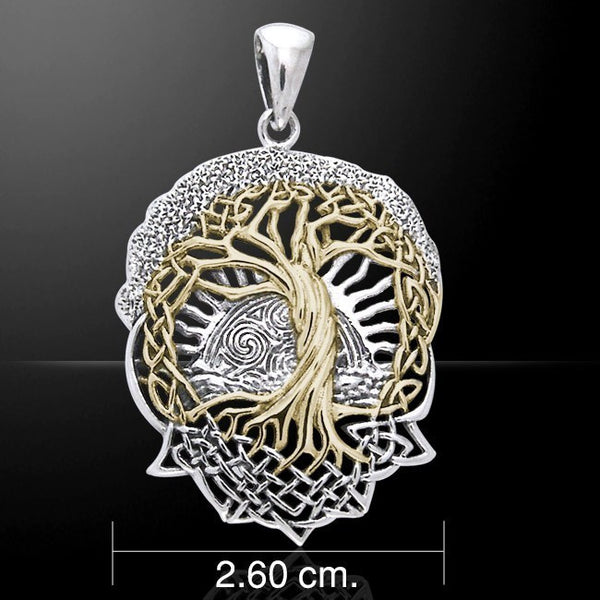SOLSTICE Tree Pendant in .925 Sterling Silver with 18k Gold vermeil Accents - CELTIC TREE of LIFE Pagan Druid