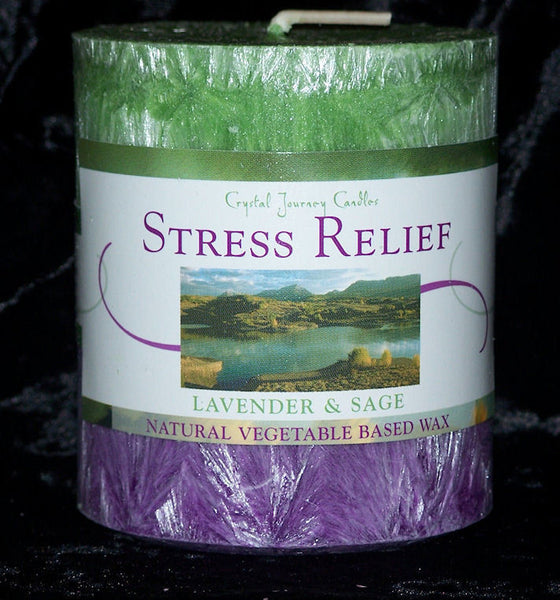 STRESS RELIEF candle, an Aromatherapy Sage Lavender Pillar Candle by  Crystal Journey Candles
