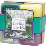 Healing Candles Crystal Journey Candles 4 Votive Gift Set Therapeutic Healing Garden - Thyme, Mint, Ginseng, Echinacea
